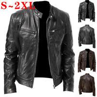 Men's Cool PU Leather Jacket Slim Punk Biker Motorcycle Warm Zip Up Coat Outwear