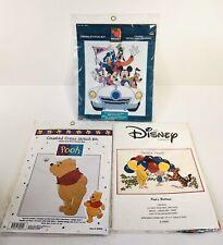 Disney Cross Stitch Kit Lot Of 3 Mickey And Friends & Winnie The Pooh