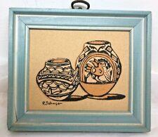Glazed Pueblo Pottery of N.M. framed art, executed in sandpaper
