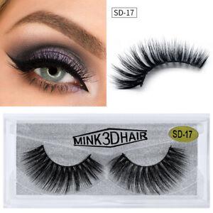 3D Mink Natural Long Thick Eye Lashes False Eyelashes Faux Cruelty Free