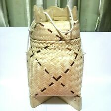 THAI LAOS local bamboo wooden basket for sticky rice container kitchen camping