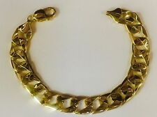 "10kt Solid Yellow Gold Handmade Curb Link Mens Bracelet 7.5"" 27 grams 13MM"