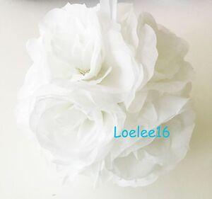 "6 pcs of 7"" Flower Kissing Ball Wedding Silk Rose Party Pomander bulk lot"