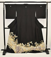 VINTAGE SILK WEDDING KIMONO:Tomesode Embroidered Flying Chinese Phoenix@K200