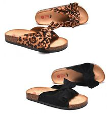 Sandali leopardati estivi donna ciabatte mare camoscio scarpe nere suola sughero