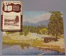 "VTG PERFECT PICTURE BIG 10 JIGSAW PUZZLE ""MOUNTAIN ROAD"" LAKE PINES SCENIC CIB"