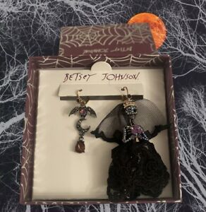 Betsey Johnson Dark Magic Mismatch Black Skeleton Bride /Bat & Moon Earrings