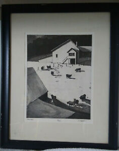 R. MARSH- ''FARMYARD''- ETCHING, SIGNED, TITLED AND NUMBERED 19/250 IN PENCIL