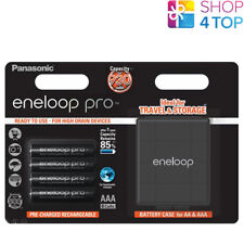4 PANASONIC ENELOOP PRO RECHARGEABLE AAA HR6 BATTERIES STORAGE CASE 1.2V 930mAh