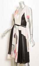Chloe Mujer Crema Multicolor Estampado Seda sin Mangas Cuello en V Capa Vestido