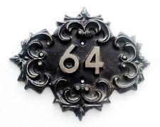 Cast iron vintage soviet door number sign 64, retro metal apt room sixty four