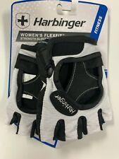"""New Harbinger Women's Flexfit Strength Gloves White Black Size Small 6.5""""-7"""""""