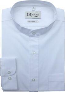 Mens Long Sleeve Tailored Fit Mandarin Collar 100% Cotton Stripe Dobby Shirt