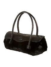 NWOT TODS Black Mink Fur & Python Snakeskin Handbag
