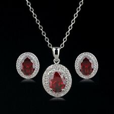 18K WHITE GOLD PLATED & CZ/AUSTRIAN CRYSTAL RUBY RED NECKLACE/EARRING SET