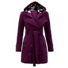 Womens Winter Warm Hooded Trench Coat Wool Blend Long Jacket Peacoat Parka Tops