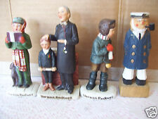 "Norman Rockwell Figurines Set Of 3 + Man Smoking Pipe 4"" Tall"