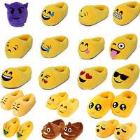 Mens Women Kids Plush Emoji Slippers Winter Warm Soft Indoor Home Cotton Shoes