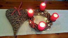 Adventskranz Weide Ø 30 cm natur Weidenkranz + Weidenherz mit roter Schleife