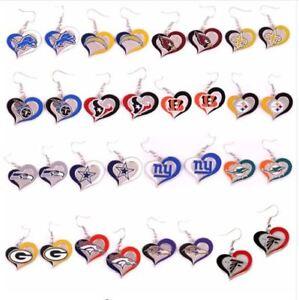 Brand New  NFL Teams Swirl Heart Earrings Pick Your Team