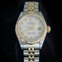 Rolex Datejust Lady 2Tone 18K Yellow Gold & Steel Watch Pyramid Roman Dial 69173