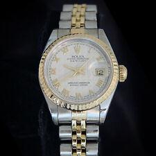 Rolex Datejust Lady 2Tone 18K Yellow Gold & Steel Watch Pyramid Roman Dial 69173