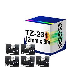 5 Compatible Label Tape TZ231 TZe231 PT1000 PT1005 PT1010 12mm x 8m for P Touch