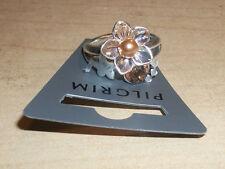 NEW PILGRIM SKANDERBORG, DENMARK Adjustable Golden Crystal & Pearl Flower Ring