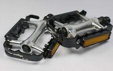 "WELLGO M20 M-20 Pedales 9/16"" Negro Plata 256g par Bmx Bicicleta De Montaña Bicicleta de carretera de aluminio"