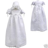 New BABY Toddler GIRL CHRISTENING GOWN BAPTISM DRESS w/ Bonnet 0 1 2 3 4(0-30M)