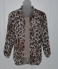 Joan Rivers Animal Print Sheer Blouse and Cami Size XS Leopard