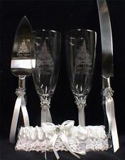 Fairytale Wedding lot Glasses Flute Cake Knife Server set Laser Castle Disney