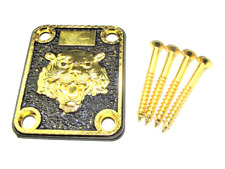 More details for gold lion neck plate with 4 screws for electric guitar/bass uk 1st class