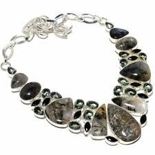 Fossil Coral, Black Rutile Quartz Gemstone Ethnic Jewelry Necklace 18""
