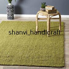 Green Colour Handwoven Jute Rug Bohemian Home Decor Floor Rug 5x8 Feet Rag Rugs