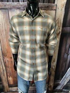 RRL Ralph Lauren Double RL - Sage, Gray & Tan Plaid Flannel Shirt Large L