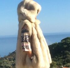 GENUINE REAL WHITE FOX FUR JACKET COAT GILET WITH HOOD BEIGE - pelliccia volpe