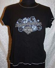 Harley Davidson motos Camiseta L Greenville SC Motero Mujer Floral Hibisco