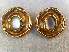 Boucles d'oreilles dorées Clips - JACKY DE G - Earrings signed Gold Tone Vintage