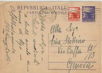 1948 ITALY 4L DEMOCRATIC ON POSTAL STATIONERY COVER 4L TWIN VALUES TO GENOVA