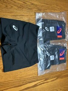 """New 3 Pairs asics 4"""" Volleyball Spandex Shorts Size Adult Small Black"""