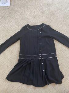 New 8T Bonpoint Black Dress White details Super cute Luxury Design Couture Coll