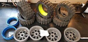 MadMax Full Set Of Giant Grip Tyres, 8 Spoke Grey Wheels 6 tyres Losi DBXL 5ive