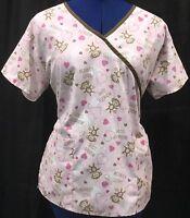Scrub Top M Pink Brown Monkey Love Hearts Uniform Medical Work Shirt V Neck Med