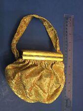 1950's Silk brocade vintage handbag BEAUTIFUL w/ purse/mirror unusual pouch bag
