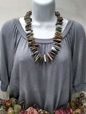 Vintage Jagged Polished Stone Brass Bead Necklace FREE SHIP
