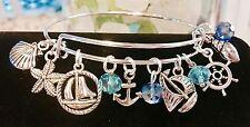 Sail boats & Sea shells/Ocean*11*charms Silver charm Expandable Bangle Bracelet