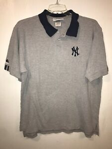 Vtg Adidas New York Yankees Polo Shirt Mens XL Gray Blue Embroidered *See Note