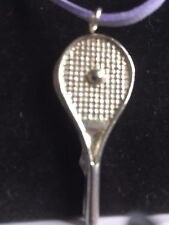 "Tennis Ball On Bat TG224 Fine English Pewter On 18"" Purple Cord Necklace"
