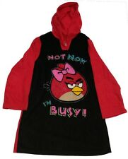 Angry Birds Pajama Red Black Hooded Sleep Top Size 14 Hoodie PJ Sleep Shirt NWT